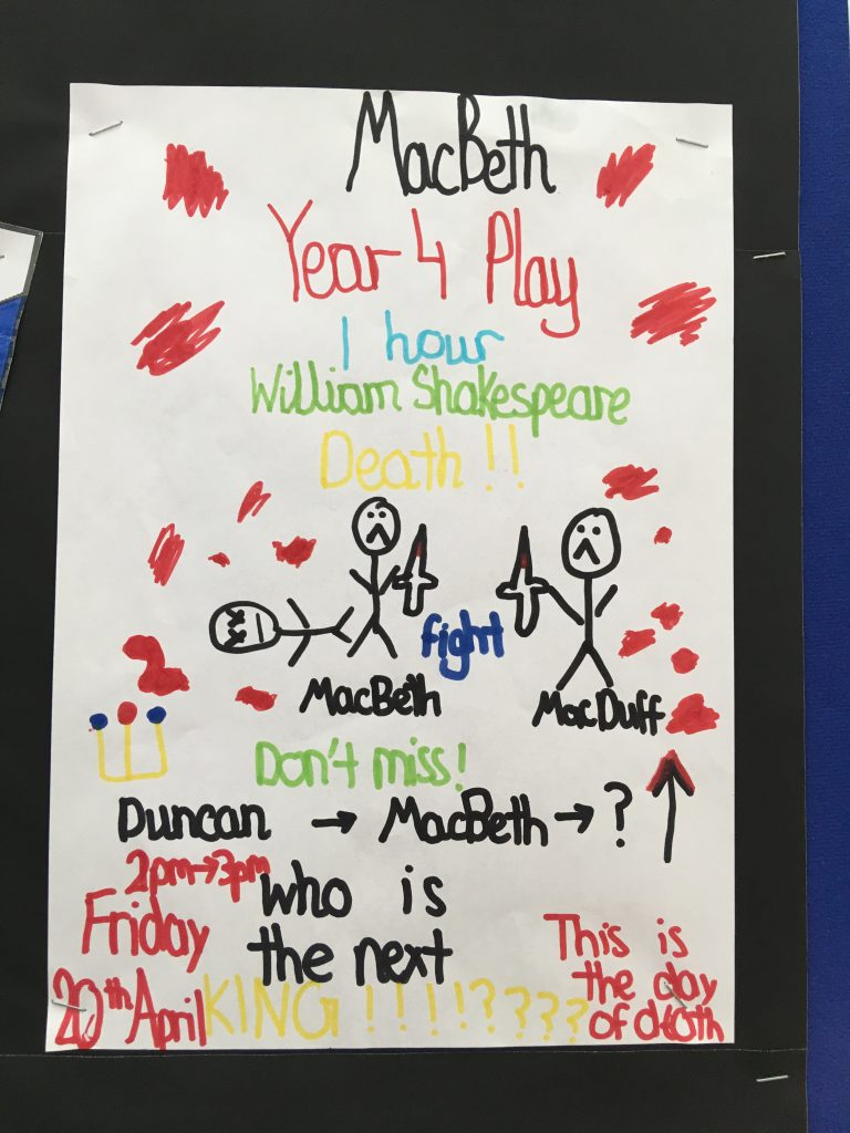 Macbeth poster - Montpelier Primary, Ealing