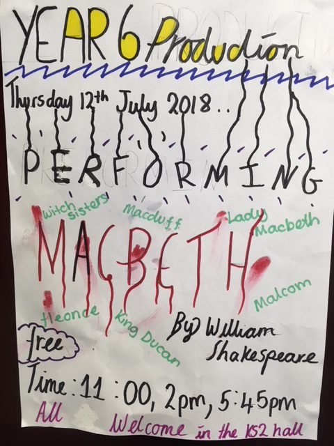 Poster for Macbeth at Icknield Primary, Luton