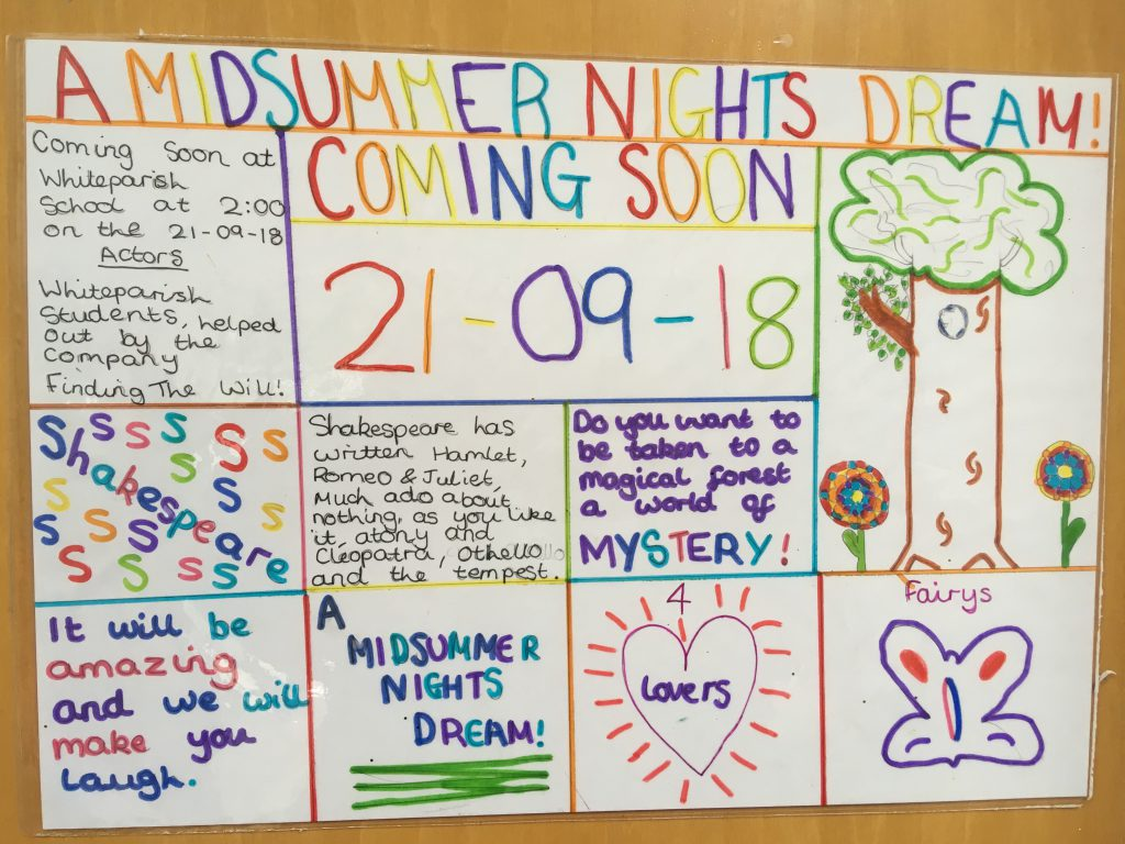 Poster for Year 4/5/6 performance of A Midsummer Night's Dream.
