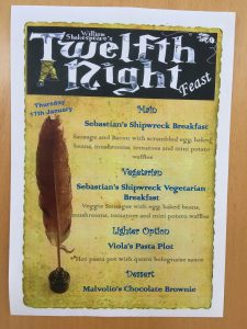 Menu for Shakespeare Themed Lunch - Great Leighs Primary