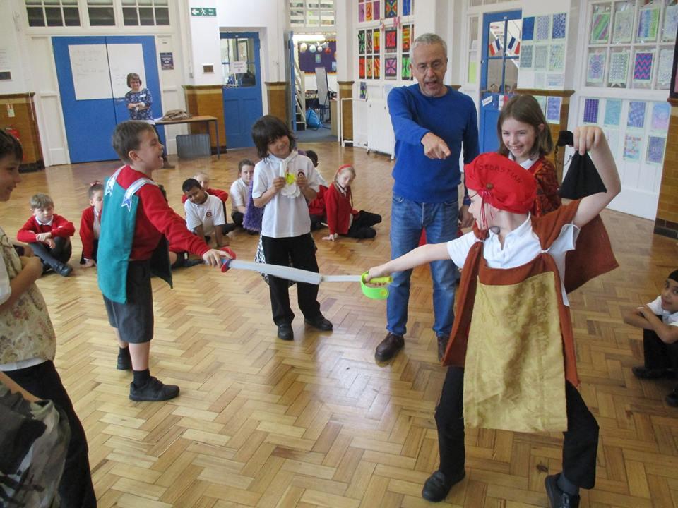Richard leading a Twelfth Night Workshop at Hampton Junior School.