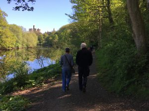 Richard and Henry strolling by the River Coquet, Warkworth