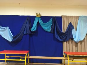 Collingbourne Primary - pop up theatre in the village hall.Tempest set.