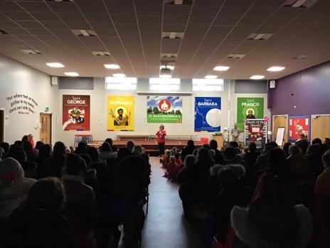Jules addresses the full house at St Bartholomew's Academy, Coventry