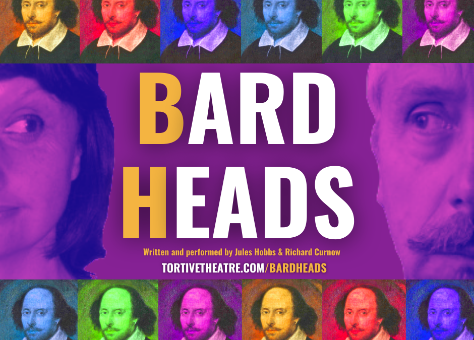 General poster for Bard Heads 2021. Yellow BH on a purple background with colourful Shakespeare heads.