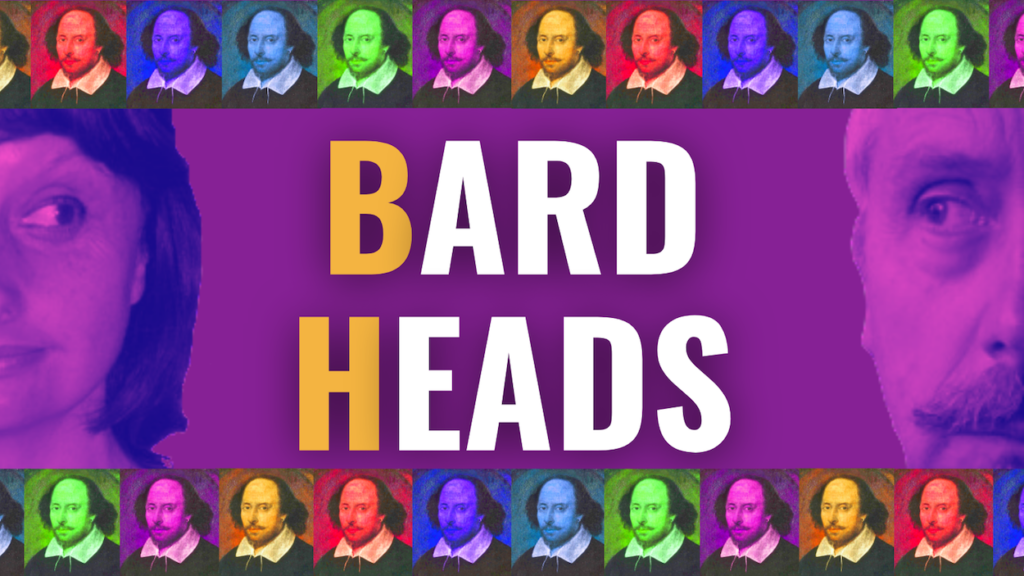 Bard Heads - multicoloured Shakespeare heads on a purple background with a yellow BH and white letters to form BARD HEADS.