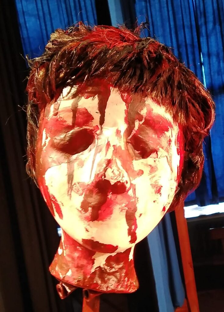Macbeth's severed head (prop) on the end of a sword. Anson Primary School